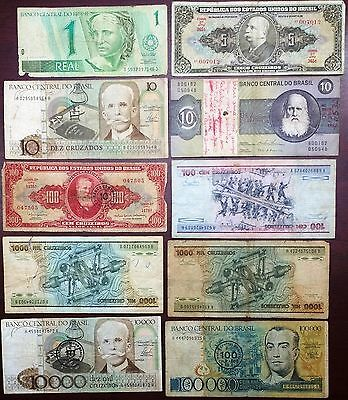 BRAZIL: Collection of 10 Notes, 1 to 100000 Cruzeiros  ⭐️ FREE COMBINED S/H ⭐️
