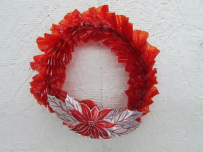 Vintage Christmas Red Cellophane Wreath W Foil Poinsettia 6""
