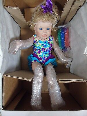 "Nib Ashton-Drake Galleries Beach Babies ""carly""  15"" Porcelain Doll W/coa"