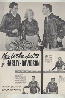 1952 Harley Davidson Leather Motorcycle Jackets Magazine Ad ww3640