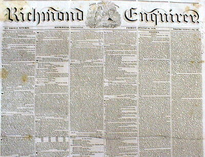 Rare orig 1839 bound volume RICHMOND ENQUIRER newspapers Pre Civil War VIRGINIA