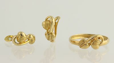 Two Hearts Heart Earrings Ring Set - 22k Solid Yellow Gold Love Romance Polished