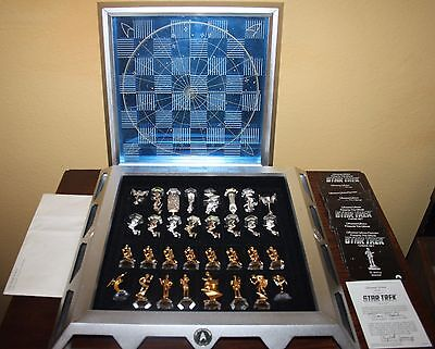 Star Trek Chess Set by Franklin Mint - 25th Anniversary Gold Plated Vintage 1989