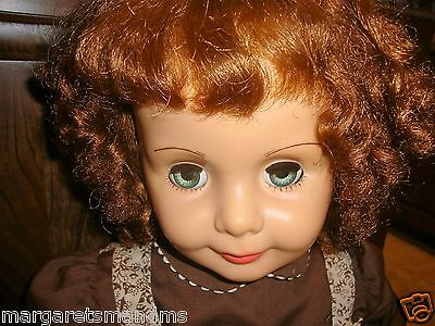 """VINTAGE IDEAL PATTI PLAYPAL G 35 Red Curly Hair, Green eyes 35"""" tall"""