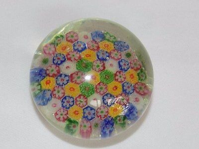 Beautiful Vtg Multi Colored Millefiori Cane Glass Paperweight Italy