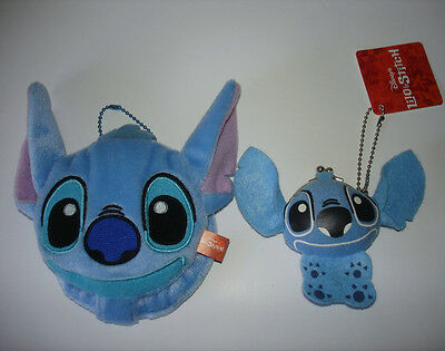 Disney Japan Lilo & Stitch Plush Dangle Mascot Mirror and Coin Purse Lot Of 2