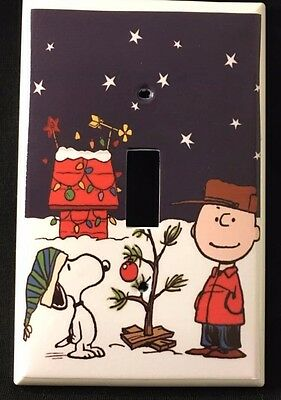 CHARLIE BROWN Christmas  Single LIGHT SWITCH COVER Single switch plate SNOOPY