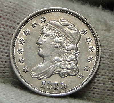 1835 Capped Bust Half Dime H10C 5 Cents - Nice Old Coin, Free Shipping  (4825)
