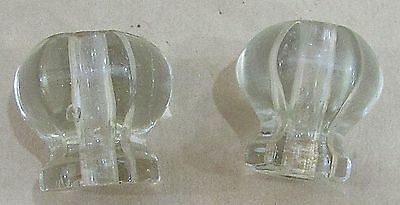 "Two antique 1"" clear glass drawer door knobs vintage furniture pulls FREE S/H"