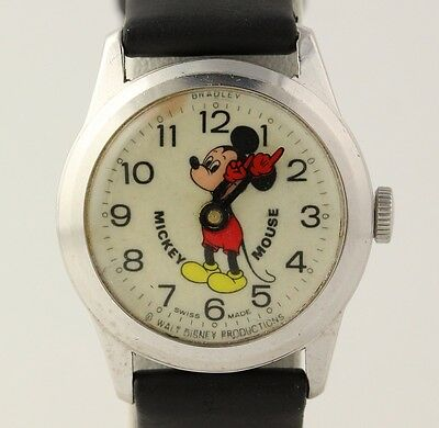 Vintage Mickey Mouse Bradley Wristwatch - Leather Band Runs!