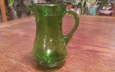 """Vintage Green Crackel Creamer 4"""" Tall by 3"""" Wide"""