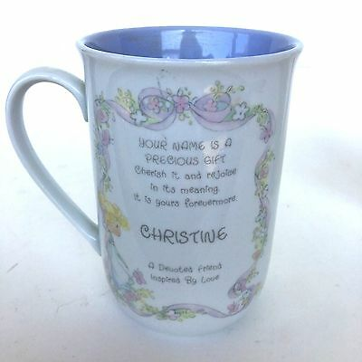 "Precious Moments Cup ""Christine"" with Name Meaning - Mint"