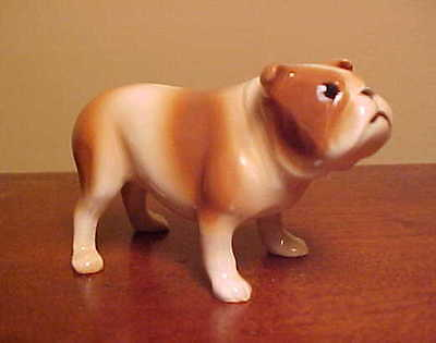 Hagen-Renaker Miniature #2087 BULLDOG STANDING Brown & White - Ceramic Figurine