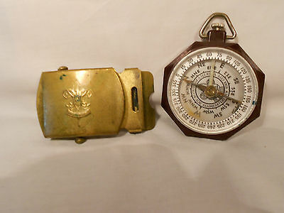 Vintage Boy Scouts of America Taylor Compass And Belt Buckle