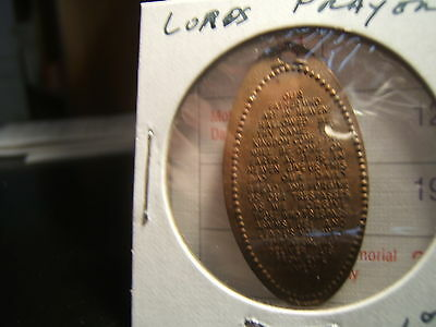 Lord's Prayer on Penny Copper -elongated  1950's