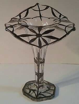 Jack In The Pulpit Art Nouveau 1920's Sterling Silver Overlay Vase Gorgeous