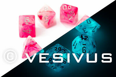 DICE Chessex GHOSTLY GLOW in the Dark PINK Swirl d20 Set d6 Game D&D 27524