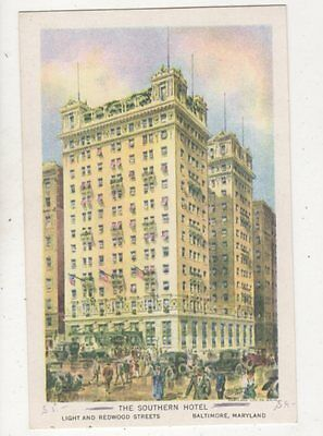 The Southern Hotel Baltimore Maryland USA Vintage Postcard 934a