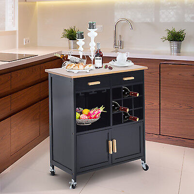 HOMCOM Kitchen Rolling Cart Island Bamboo Top Serving Utility Cabinet Portable