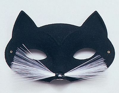 BLACK CAT MASQUERADE Eye Animal Mask With Whiskers Fancy Dress