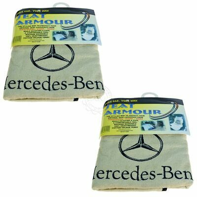 OEM Seat Towel Cover Beige Terry Cloth Seat Armour w/ Logo Pair Set for Mercedes