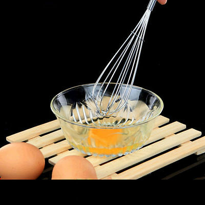 Durable Handle Whisk Stainless Steel Kitchen Balloon Wire Egg Beater Tool New