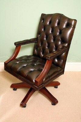 English Hand Made Gainsborough Leather Desk Chair Green
