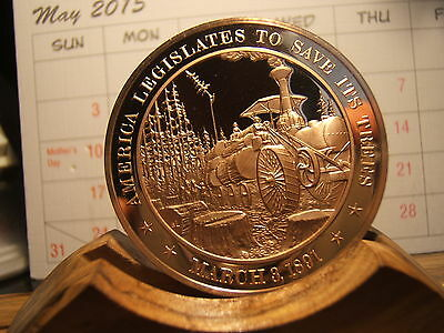 March 1887 - American Legislates To  Save The Trees  Proof Medallion 45Mm Bronze