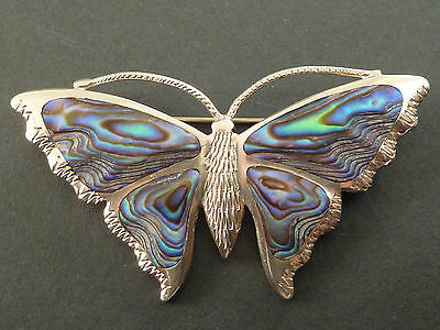 Vintage Silver And Abalone Shell Butterfly Brooch