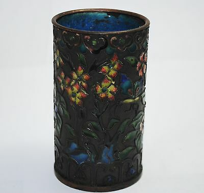 Antiques ,Chinese Old Cloisonne Handwork Painting Flower Brush Pot Collectible