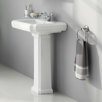 Traditional Bathroom Basin and Pedestal Single Tap Hole Gloss White Finish