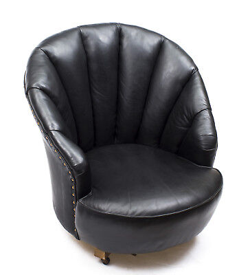 Antique Art Deco Black Leather Low Shell Armchair c.1930