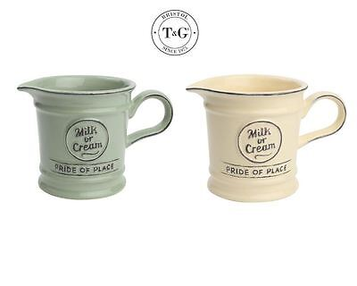 T&G Woodware Small Creamer Milk Jug in Old Cream or Old Green