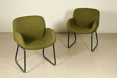 Chair with Armrests Foam Fabric Vintage Manufactured in Italy 1960s