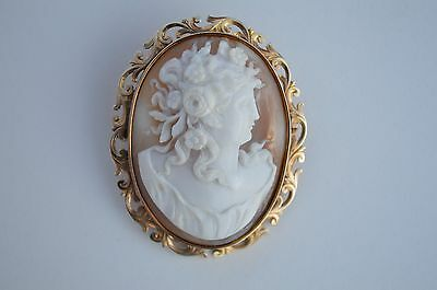 Beautiful Antique 14K Gold Nicely Carved Shell Cameo Of A Nymph Brooch Pendant