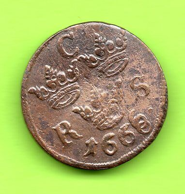 Sweden Ore 1/6 1666 dual coinage coins  608