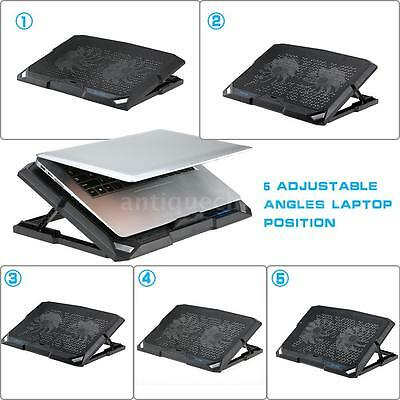 USB Laptop Cooling Pad Cooler Base Chill Mat Radiator 1200RPM with LED Fans Z5Z2