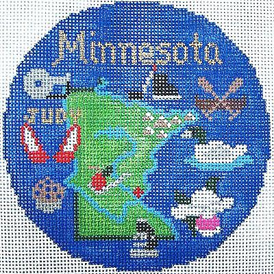 "Silver Needle MINNESOTA State handpainted 4.5"" Round Needlepoint Canvas Ornament"