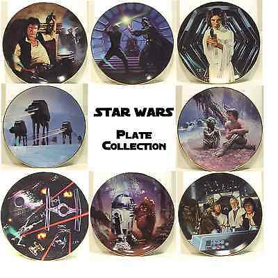 Vintage Star Wars Ceramic Plate Set of 8- FIRST SERIES!  Mint Boxed