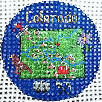 """COLORADO State handpainted 4.25"""" Needlepoint Canvas Ornament by Silver Needle"""