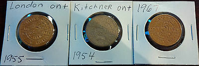 Lot of 3 Wooden Nickels - London 1955 - Kitchener 1954 - Canada 1967 [Ori]