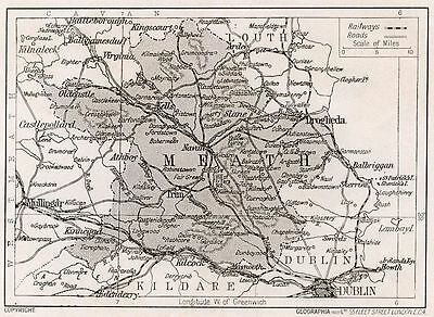 1923 map of Ireland: County Meath  antique ready-mounted print SUPERB