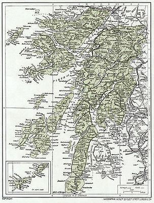1923 map of Scotland: old Argyll, ready-mounted antique print SUPERB
