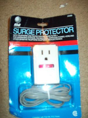 At&t Surge Protector With Telephone Line Protection & Noise Filter Ul Listed