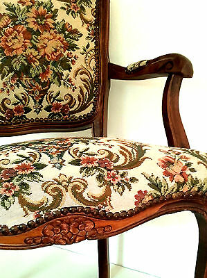 Vintage French Louis Fauteuil Beech Wood & Floral Tapestry Upholstered Armchair