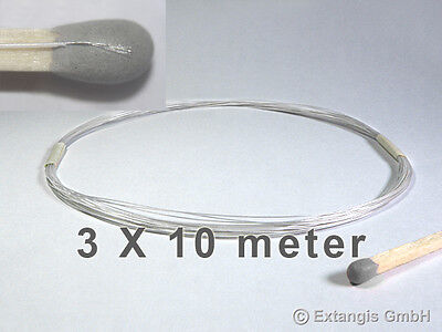 (0,33€/m) 3x10 m Microlitze WEISS 0,2mm/0,005mm² stranded micro litz wire white