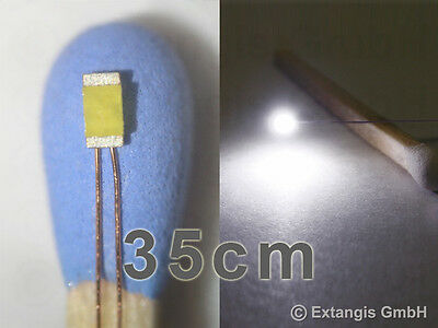 10x SMD LED 0603 EXTRAFLACH PUR WEISS Cu-Draht 35cm XL white flat long Cu-wire
