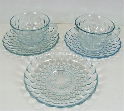Anchor Hocking Sapphire Blue Bubble 2 Cup Saucer Sets 1 Saucer Depression Glass