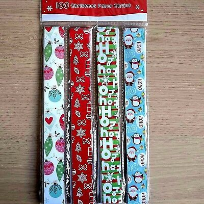 Christmas Paper Chains Uk.New 100 Christmas Paper Chains Xmas Chain Festive Decorations Art Craft