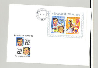 Guinea 1991 Rotary, Lions Club, Chess, Food 1v Imperf Compound Deluxe S/S FDC